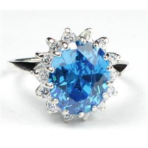 Swiss Blue CZ, 925 Sterling Silver Ring, SR283