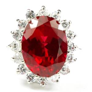 SR310, Created Ruby, 925 Sterling Silver Royal Engagement Ring