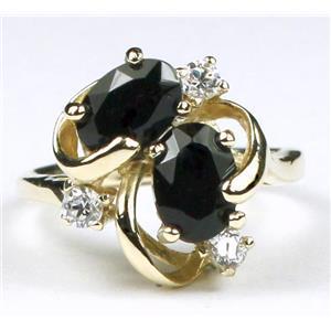 R016, Black Onyx. Gold Ring