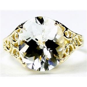 R057, Silver Topaz, Gold Ring