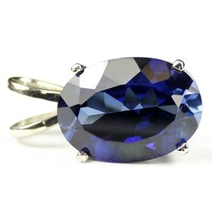 SP084, Created Blue Sapphire 925 Sterling Silver Pendant