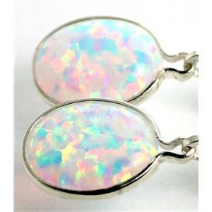 SE101, Created White Opal, 925 Sterling Silver Earrings