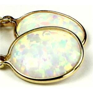 E201, Created White Opal,14k Gold Earrings