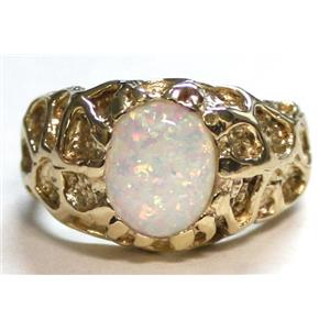 R168, Created White Opal, Men's Gold Ring