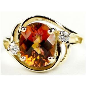 R021, Twilight Fire Topaz, Gold Ring