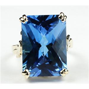 R039, Swiss Blue Topaz, Gold Ring
