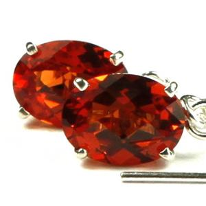 SE003, Created Padparadsha Sapphire, 925 Sterling Silver Threader Earrings