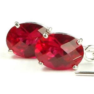 SE003, Created Ruby, 925 Sterling Silver Threader Earrings