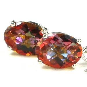 SE003, Twilight fire Topaz, 925 sterling Silver Threader Earrings