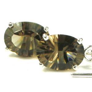 SE003, Smoky Quartz, 925 Sterling Silver Threader Earrings