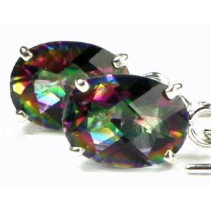 SE003, Mystic Fire Topaz, 925 Sterling Silver Threader Earrings