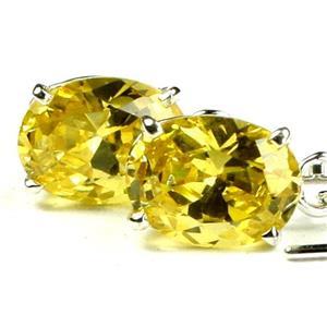 SE003, Golden Yellow CZ, 925 Sterling Silver Threader Earrings