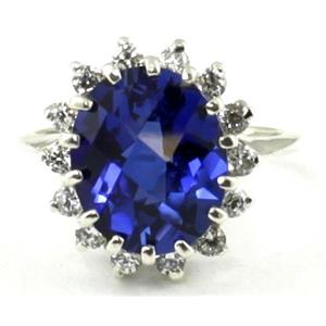 SR283, Created Blue Sapphire, 925S Sterling Silver Cluster Ring