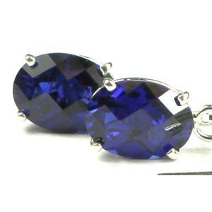 SE003, Created Blue Sapphire, 925 Sterling Silver Threader Earrings