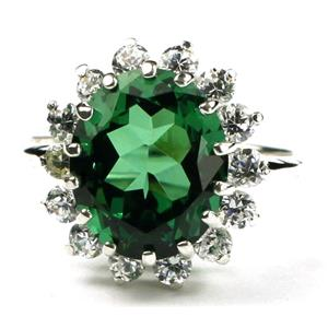 SR283, Russian Nanocrystal Emerald, 925S Sterling Silver Cluster Ring