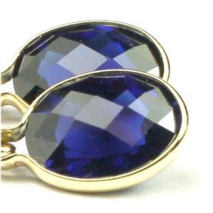E001, Created Blue Sapphire, 14k Gold Earrings