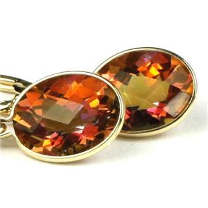 E101, Twilight Fire Topaz,14k Gold Leverback Earrings