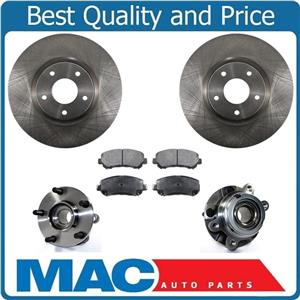 Front Brake Rotors & Ceramic Pads W/ Hub & Bearing Assem for Nissan Maxima 09-16