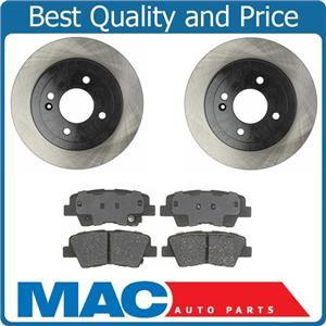 Rear Brake Disc Rotor Rotors & Ceramic Pad Pads for 12-14 Hyundai Accent Kia Rio