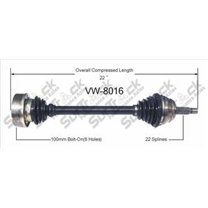 CV Axle Shaft- Front Left VW-8016 95-02 Cabrio With Manual Transmission D/S