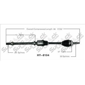 CV Axle Shaft-New Frt Right HY-8104 Fits 06-10 Sonata V6 3.3L