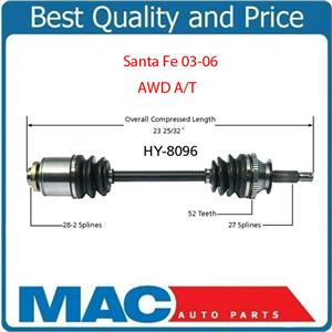 3.5L AWD 4x4 With Automatic Passengers Side HY-8096 CV Joint Axle Shaft