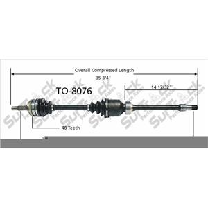 CV Axle Shaft-New Front Right SurTrack TO-8076 Pass Side Camry Rav4 FWD Only