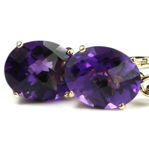 E107, Amethyst,14k Gold Earrings