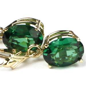 E107, Russian Nanocrystal Emerald,14k Gold Earrings
