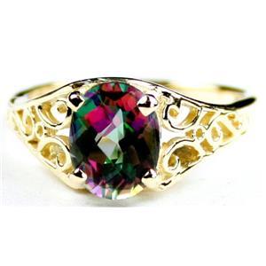 R005, Mystic Fire Topaz, Gold Ring