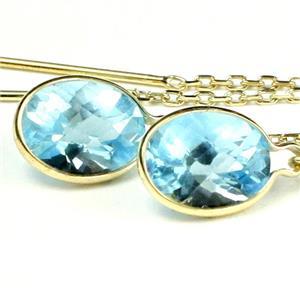 E005, Swiss Blue Topaz, 14k Gold Threader Earrings