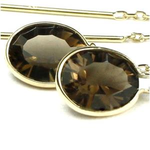 E005, Smoky Quartz, 14k Gold Threader Earrings