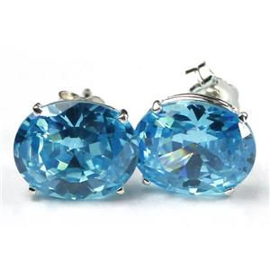 Swiss Blue CZ, 925 Sterling Silver Earrings, SE102