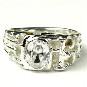 SR197, Cubic Zirconia, 925 Sterling Silver Men's Ring