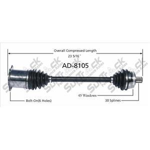 CV Axle Shaft-New Front Left  AD-8105 fits 02-08 Audi A4 Quattro Man Trans