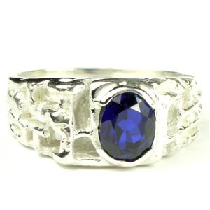 SR197, Created Blue Sapphire, 925 Sterling Silver Men's Ring