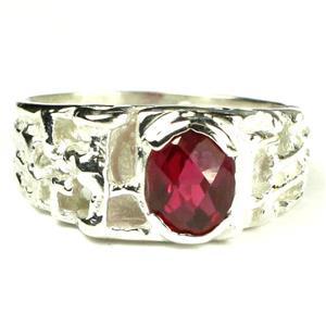 SR197, Crimson Fire Topaz, 925 Sterling Silver Men's Ring