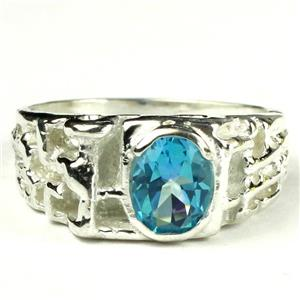 Swiss Blue CZ, 925 Sterling Silver Men's Ring, SR197