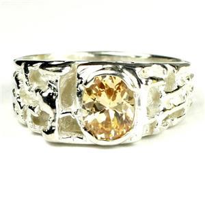 SR197, Champagne CZ, 925 Sterling Silver Men's Ring