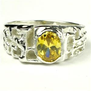 SR197, Golden Yellow CZ, 925 Sterling Silver Men's Ring
