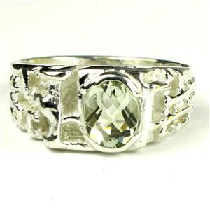 SR197, Green Amethyst (Prasiolite), 925 Sterling SIlver Men's Ring