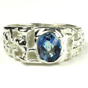 SR197, Neptune Garden Topaz, 925 Sterling Silver Men's Ring