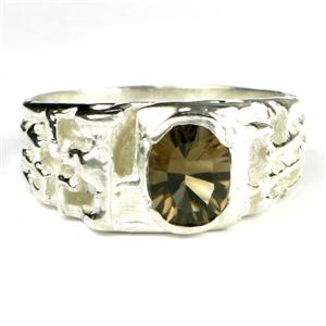 SR197, Smoky Quartz, 925 Sterling Silver Men's Ring