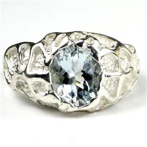 SR168, Aquamarine, 925 Sterling SIlver Men's Ring