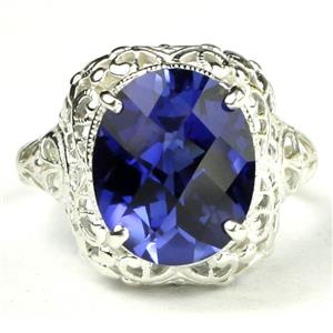 SR009, Created Blue Sapphire, 925 Sterling Silver Antique Style Filigree Ring