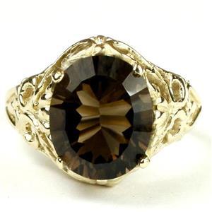 R114, Smoky Quartz (Quantum Cut), Gold Ring