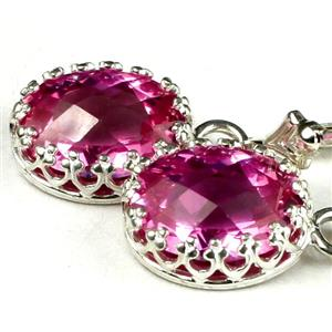 SE109, Pure Pink Topaz, 925 Sterling Silver Crown Bezel Earrings