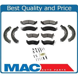 Fits For 07-10 Sport Trac Front & Rr Ceramic Brake Pads Parking Brake Shoes 4Pc