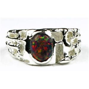 SR197, Created Black Opal, 925 Sterling Silver Ring