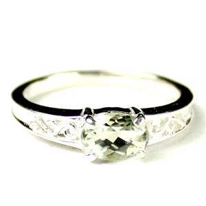 SR362, Green Amethyst (Prasiolite), 925 Sterling Silver Ladies Ring